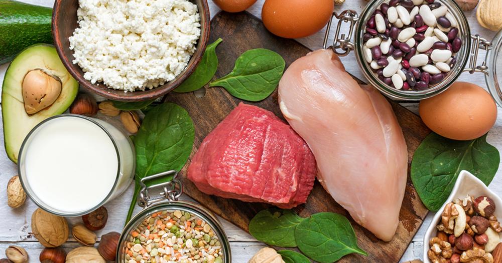protein, food, chicken, bean, rice, avocado, beef, egg, bean, nut, milk