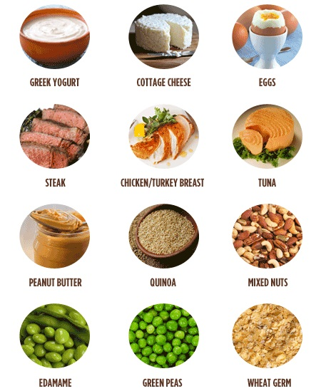 protein, foods, greek, yogurt, cottage, cheese, eggs, steak, chicken, turkey, breast, tuna, peanut, butter, quinoa, mixed, nuts, edamame, green, peas, wheat, germ,