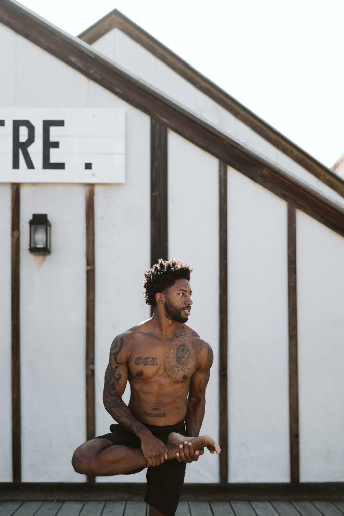 black man fitness yoga