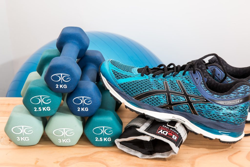 fitness shoes gloves dumbbell medicine ball